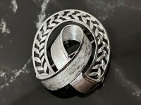 Lovely Vintage Silver tone Ribbon Design Trifari Jewellery Brooch 1960s