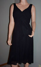 CHAPS Sleeveless Empire Waist Ruched Bodice Little Black Party Dress Sz 6 NWT