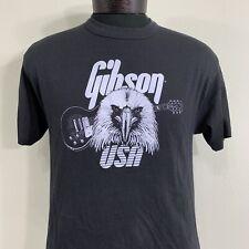 Vintage Gibson Guitars T Shirt Medium Black USA Tee Jays Single Stitch 70s 80s
