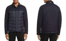 Herno Mixed-Media Down Shirt Jacket L Italian 48 Navy NWT MSRP $780
