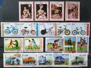 VIETNAM - Collection of 19 USED stamps - Paintings, Trucks, Bicycles, Football