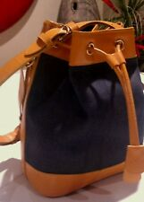 Dooney and Bourke Bucket Drawstring Blue Denim and Yellow Leather Bag Purse