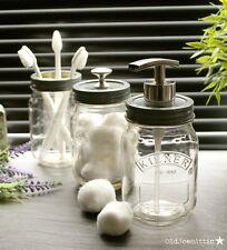 Kilner Mason Jar VINTAGE Bagno Accessorio Set Con Grigio & Nichel Satinato Top