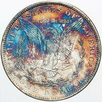 1885-O MORGAN SILVER DOLLAR VIBRANT COLORED GEM TONED UNC BU CHOICE (MR)