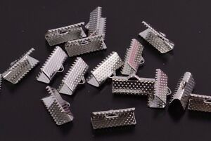 50 Silver Tone Ribbon Ends / Clasps 10 - 25mm, by 7mm Findings Terminators