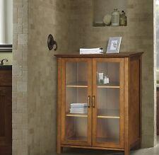Glass Door Display Cabinet Curio Case Wood Oak Storage Buffet Cupboard Furniture