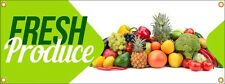 Fresh Produce Vinyl Display Banner with Grommets, 3'h x 8'w, Full Color