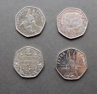 50p Beatrix Potter Set of 4 Coins Rare & Collectable As Photo (No Jemima puddle)