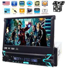 "7"" Single 1 Din GPS Navigation Car Radio Stereo DVD Player Bluetooth Camera+MAP"
