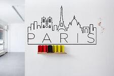 Wall Vinyl Sticker Decal Skyline Horizon Panorama City Paris France World F1776