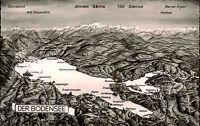 Bodensee Relief-AK Berg Panorama Alpen Berge s/w Postkarte 1960 ab Lindau gel.