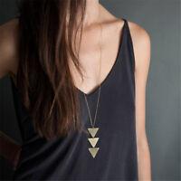 Women Geometric Shape Pendant Necklace  Long Chain Elegant Jewelry Gift LD