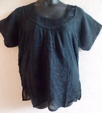 Top 2X 3X Plus Tunic Black Embroidery Cotton Round Scoop Ruched Neck NWT  VT25