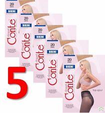 LOT of 5 Packs CONTE Elegant Women's Tights Lace Panties BIKINI 20 Den S M L