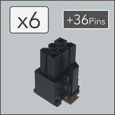x6 6 pin Female PCI-e GPU Power Connector Socket - Black + 36 Pins