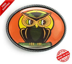 Owl Belt Buckle - Retro Halloween Art Silver Oval Handmade Buckle - 144