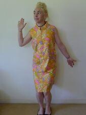 Vintage retro 12 M unused cotton shift dress NOS pastels orange zipper