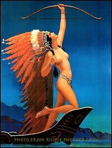 "Nude Woman Flaming Arrow 8.5x11"" Photo Print Edward Eggleston Indian Maiden Art"