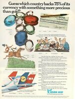 1977 Original Advertising' Vintage Iran Air Airlines A Company Aerial