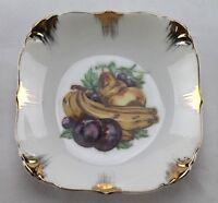 "Vintage Enesco Japan Small Porcelain Plate, Squared, Fruit Motif, 5"" x 1"" Deep"