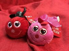 "Lot Of 2 Soft Stuffed Plush Lady Bug 5.5"" Valentines Day Red & Pink W/ Hearts"