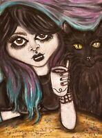 Goth Girl Black Cat Coffee Shop 8 x 10 Print Signed KSams Art Home Decor Gothic