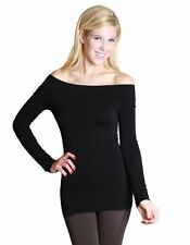 Alluring Black Long Sleeve Off The Shoulder Top One Size Fits Most