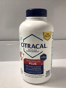 Citracal Maximum Plus Calcium Citrate + D3 280 Caps Exp 01/2022 New!!