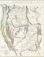 1848 Gold Rush Map Of Oregon & Upper California Showing the Regions Poster Print