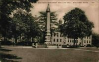 Soldiers Monument And City Hall Waltham Mass MA Vintage 1900's Sepia Postcard