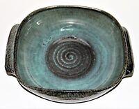 Scheier Square Casserole Dish Blue Green Brown Spiral Center Handles Glazed