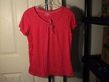 Women's Top L.L.Bean Pinkish red Ribbon Bow Small Knit T-Shirt EUC (bx#E)