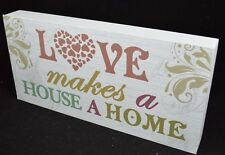 Love House Home Heart  Wall Art Picture Wooden Sign Plaque Rustic Primitive