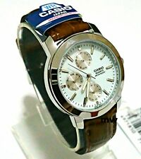 Casio MTP1192E-7A Day Date Analog Quartz White Dial Leather classic Gent's Watch