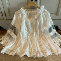 L New Bohemian Lace White Peasant Blouse Vtg 70s Insp Sage Top Womens Size LARGE