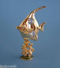 "SWAROVSKI CRYSTAL ELEMENTS ""ANGEL FISH on CORAL"" FIGURINE 24KT GOLD PLATED ""NEW"""