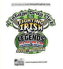 Drag Racing NHRA Sticker Decal Beebe and Mulligan Fighting Irish