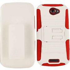 For HTC One S Impact Hybrid Red White Belt Clip Holster Kickstand Cover Case
