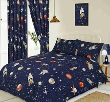 DOUBLE BED DUVET COVER SET SPACE PLANETS STARS NAVY BLUE ALIENS ASTRONAUT UFO