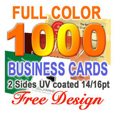 1000 Business Cards UV gloss 2 sided & Free Custom Design