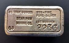 Vintage CWP Bear Paw Mining Co. Old Pour 25.47ozt .999 Fine Silver Ingot Bar