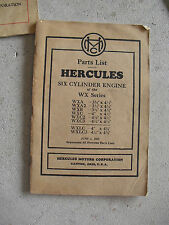 Vintage 1935 Booklet Hercules Motor Corp Parts List Six Cylinder Engine WX Serie