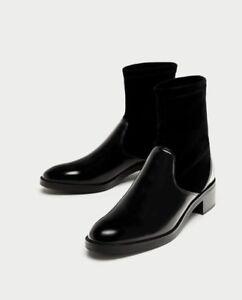 Zara Women Contrasting Velvet Ankle Boots Size 9 EUR 40 NWT