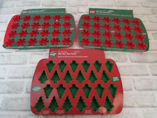 Lot of 3 Wilton Bite Size Molds Silicone Christmas Tree Snowflakes NEW 24 Cavity