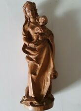 Vintage wooden hand carved Holy MADONNA AND THE CHILD  Sculpture Figurine.