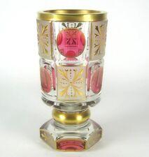 Handgeschliffener Glas Becher / Pokal mit Golddekor Sammlerstück Art Deco? #