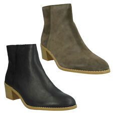 BRECCAN MYTH LADIES CLARKS LEATHER BLOCK HEEL CASUAL RANCH ZIP UP ANKLE BOOTS