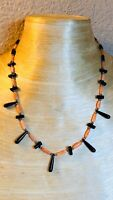 VTG Pink Angel Skin Black Coral Necklace Authentic Beads Collar