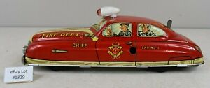 """(Lot #1329) Vintage Marx Tin Toy Large Wind-Up Fire Chief Car 11"""" Long"""
