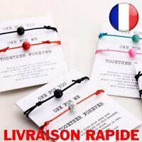 2 pcs Pierre Lave Naturelle Perle Bracelet Rouge Tressage Couple Amour Bijoux